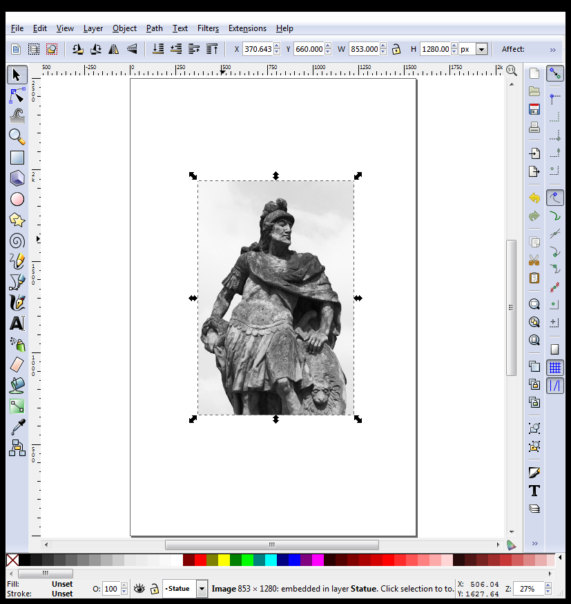 Inkscape with Imported Statue
