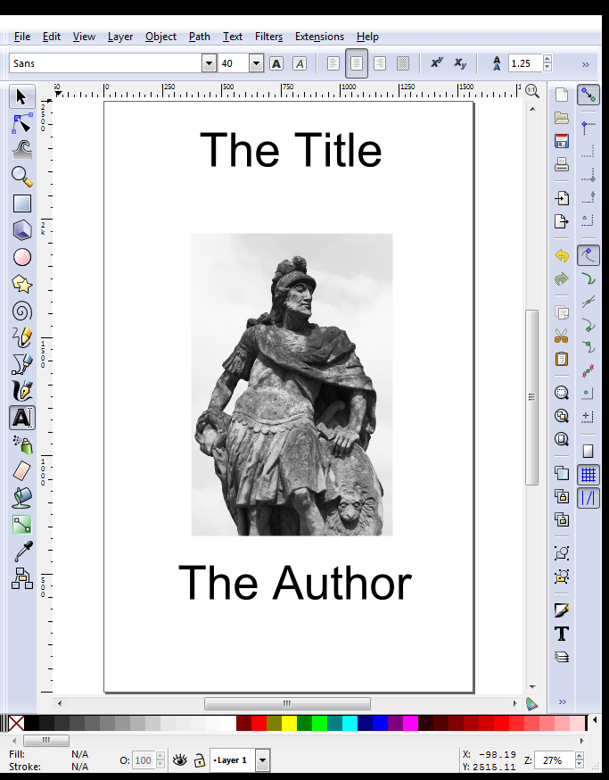 Inkscape - eBook Cover with Image and Text