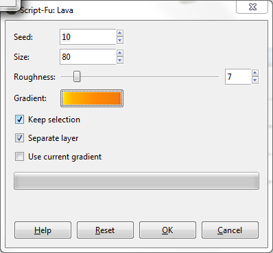 GIMP Lava Filter Configuration